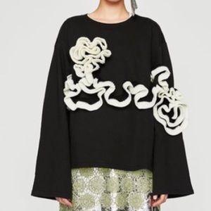 Zara | Black & White Ruffled Long Sleeve Sweater